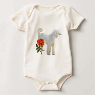 Afghan hound and rose baby bodysuit