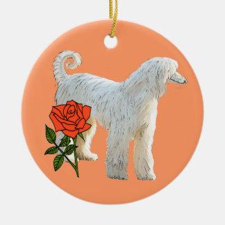 Afghan hound and rose ceramic ornament