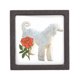 Afghan hound and rose jewelry box