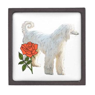 Afghan hound and rose keepsake box