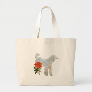 Afghan hound and rose large tote bag