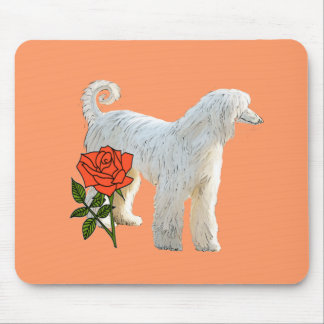 Afghan hound and rose mouse pad