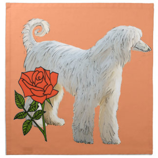 Afghan hound and rose napkin