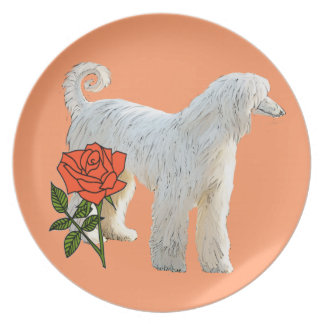 Afghan hound and rose plate