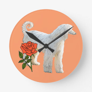 Afghan hound and rose round clock