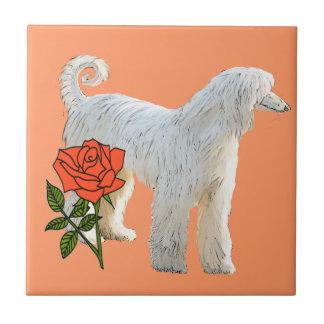 Afghan hound and rose tile