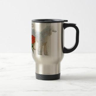 Afghan hound and rose travel mug