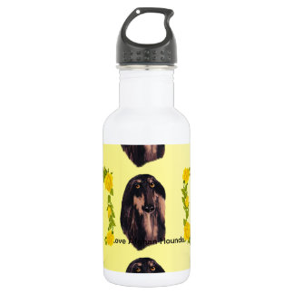 Afghan Hound and Yellow Roses Water Bottle