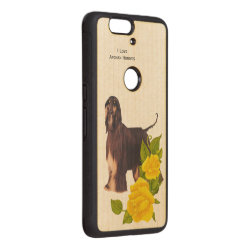 Carved ® Google Nexus 6p Bumper Wood Case with Afghan Hound Phone Cases design