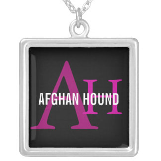 Afghan Hound Breed Monogram Silver Plated Necklace
