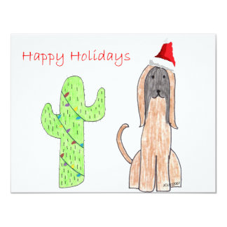 Afghan Hound Cactus Christmas 4.25x5.5 Paper Invitation Card