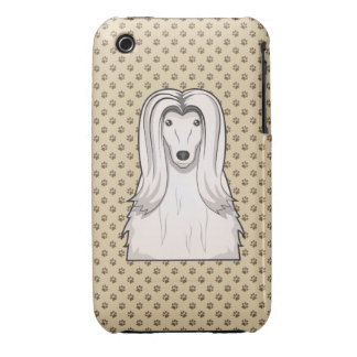 Afghan Hound Cartoon Portrait iPhone 3 Cases