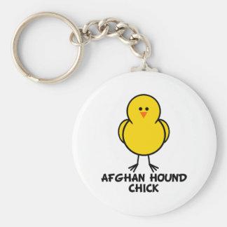 Afghan Hound Chick Basic Round Button Keychain