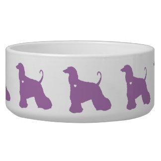 Afghan Hound colorful pop dog art silhouette Bowl