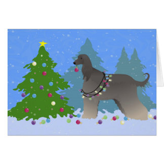 Afghan Hound decorating christmas tree-forest Card