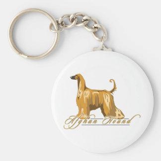 Afghan Hound, Detailed, Gold Keychain