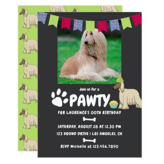 Afghan Hound Dog Birthday photo invitation
