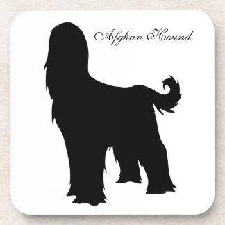 Afghan Hound dog black silhouette coaster