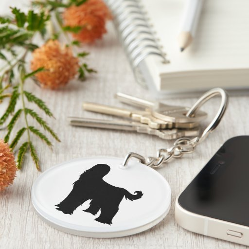 Afghan Hound dog black silhouette, gift Acrylic Key Chains