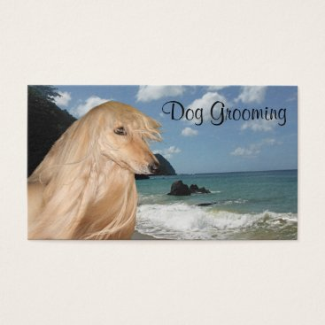 Beach Themed Afghan Hound dog grooming Business Card