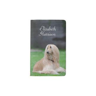 Afghan Hound dog photo custom name pocket notebook