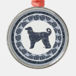Afghan Hound Dog with Blue Hearts Ornament