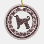 Afghan Hound Dog with Brown Hearts Ornament