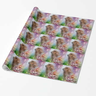 Afghan Hound Fantasy Flowers Dog Wrapping Paper