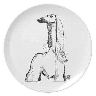 Afghan Hound Gesture Sketch Dinner Plate