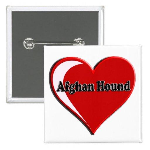 Afghan Hound Heart Pinback Button