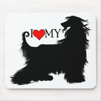 Afghan Hound I Love (heart) my Mouse Pad