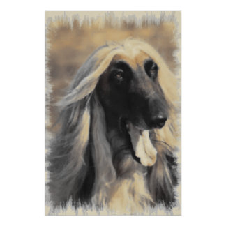 Afghan Hound in Sepia Art Gifts Poster