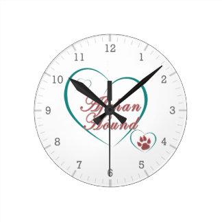 Afghan Hound Love Round Clock
