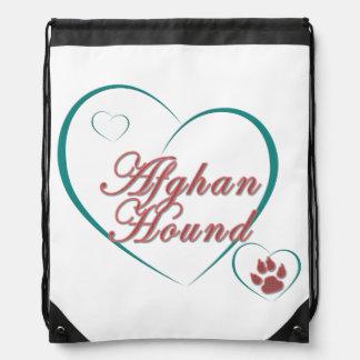 Afghan Hound Love Drawstring Backpacks