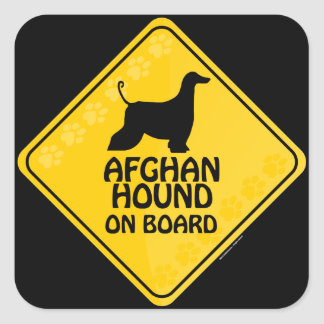 Afghan Hound On Board [Xing] Square Sticker