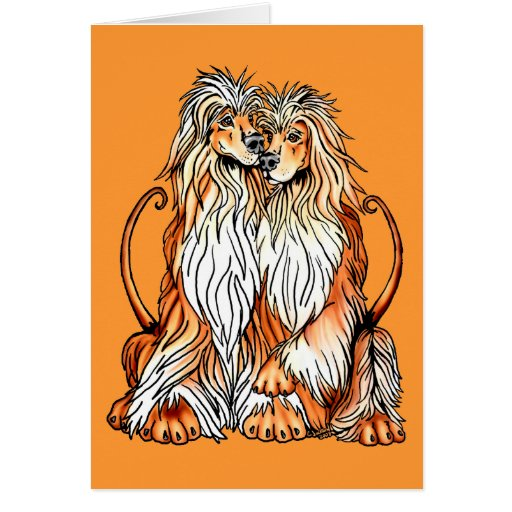 Afghan Hound Puppy Love Greeting Cards