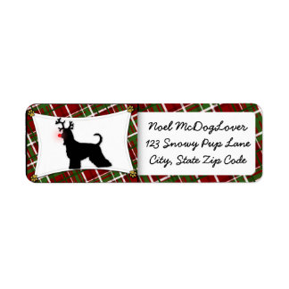 Afghan Hound Reindeer Christmas Label