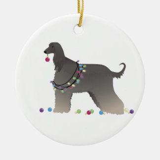 Afghan Hound Silhouette Christmas Illustration Ceramic Ornament