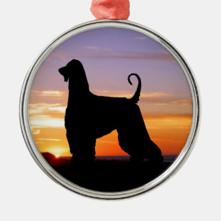 Afghan Hound Sonoma Sunset Silhouette Round Metal Christmas Ornament