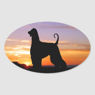 Afghan Hound Sonoma Sunset Silhouette Oval Sticker