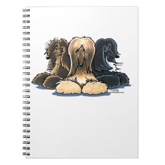 Afghan Hounds Three of a Kind Spiral Note Book