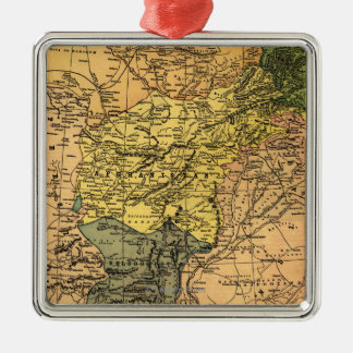 Afghanistan and Surrounding Countries Map Square Metal Christmas Ornament