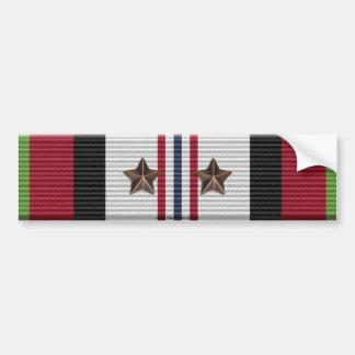 Afghanistan Campaign Ribbon 2 Stars Bumper Sticker