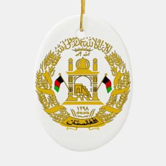 Afghanistan Coat of Arms Double-Sided Oval Ceramic Christmas Ornament