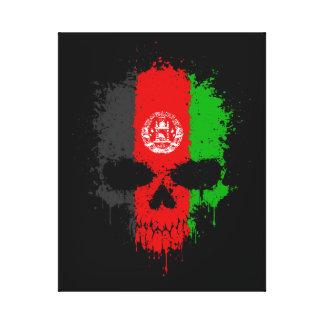Afghanistan Dripping Splatter Skull Gallery Wrap Canvas