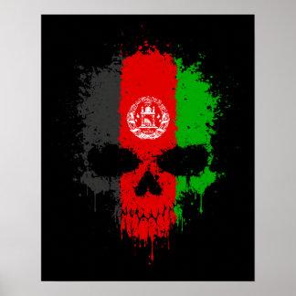 Afghanistan Dripping Splatter Skull Posters