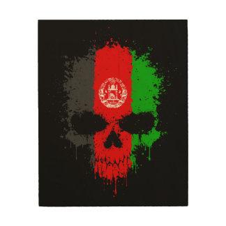 Afghanistan Dripping Splatter Skull Wood Prints