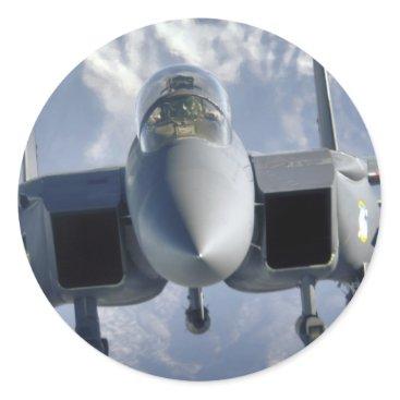AFGHANISTAN F-15 CLOSEUP CLASSIC ROUND STICKER