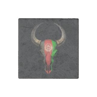 Afghanistan Flag Bull Skull Stone Magnet