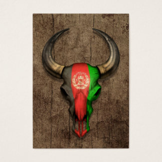Afghanistan Flag Bull Skull on Wood Effect Business Card